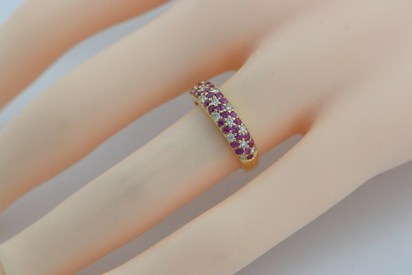 18K YG LeVion Diamond and Pink Sapphire Floral Rosette Ring Size 5.5 Circa 2000