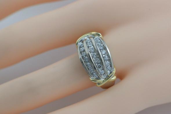 14K White and Yellow Gold Diamond Ring 0.75 ct tw Circa 1990 Size 7.25