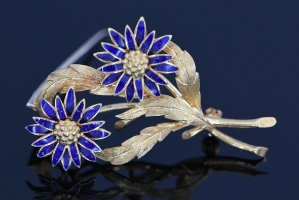18K Yellow Gold Enamel Floral Pin, Circa 1960 Italy