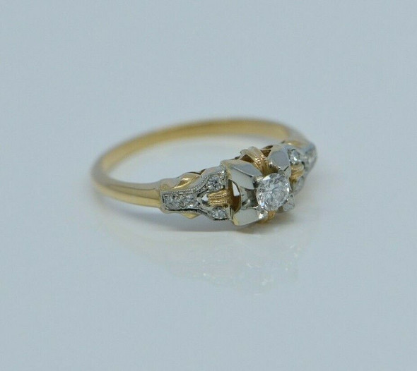 14K-18K Marked White & Yellow Gold 1/4ct tw Art Deco Engagement Ring Size 5.5