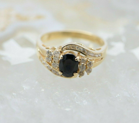 14K Yellow Gold Sapphire and Diamond Ring Circa 1970 Size 6
