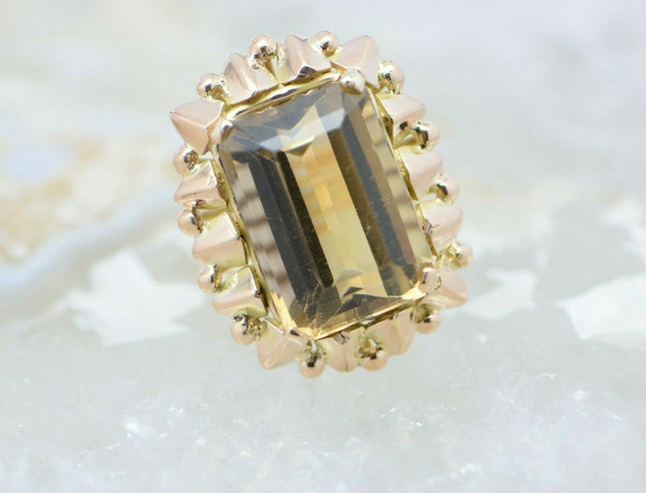 14K Yellow Gold Smoky Quartz Ring with all Wire Work Setting Circa 1950 Size 3