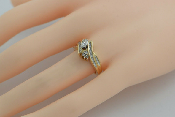 14K Yellow Gold Diamond Cocktail Engagement Ring Circa 1960 Size 6.75