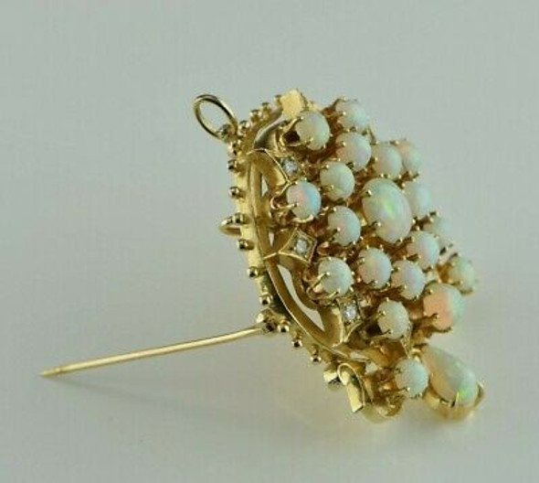 Vintage 14K YG 5ct tw est. Opal and Diamond Pin/Pendant Circa 1920