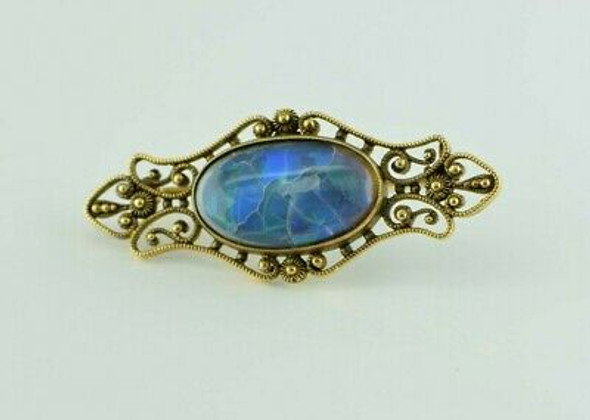 14K YG Retro Victorian Large Opal Pin Millegrained Wire Work Setting Circa 1950