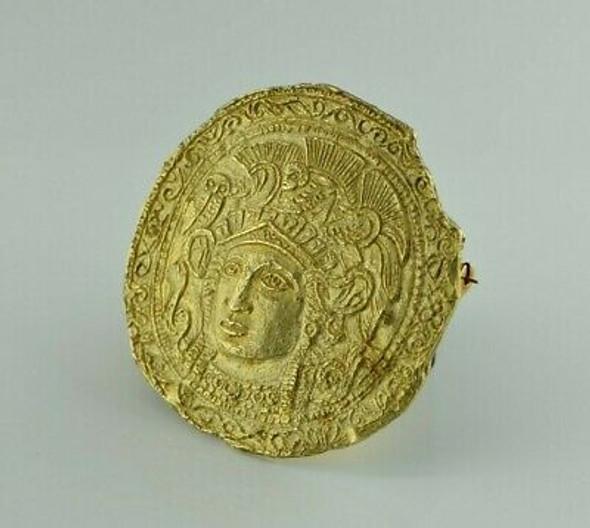 Vintage 18K YG Greek Pin Pendant Athena Head Circa 1960