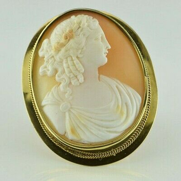 Antique 14K Yellow Gold Magnificent Shell Cameo Oval Pin Circa 1890