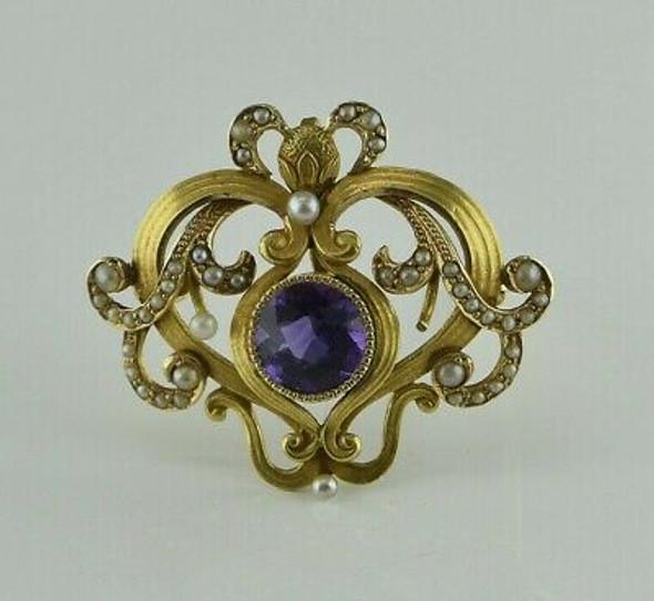 Superb Antique 14K YG Art Nouveau Amethyst Pin Watch Clip Pendant Circa 1900