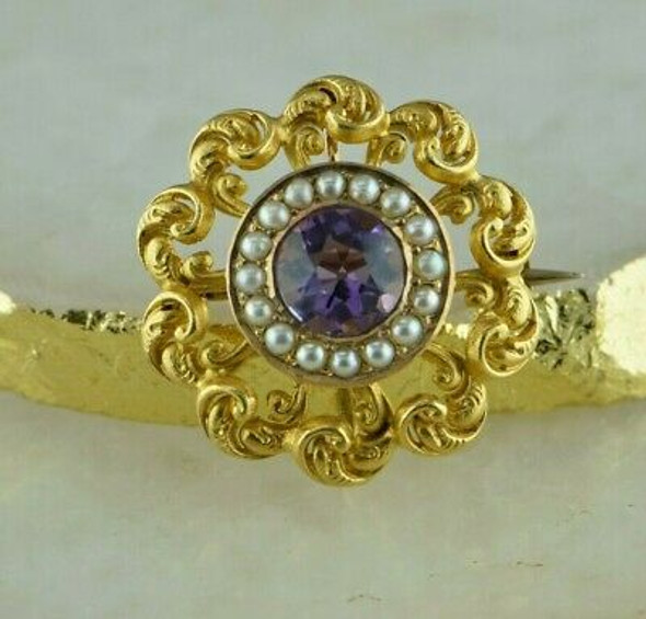Antique 14K Yellow Gold Amethyst & Seed Pearl Pin Pendant Watch Clip Circa 1900