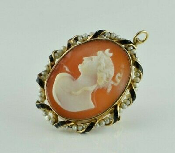 Antique 10K YG Tested Classic Cameo Luna or Selene Shell Pin Pendant Circa 1890
