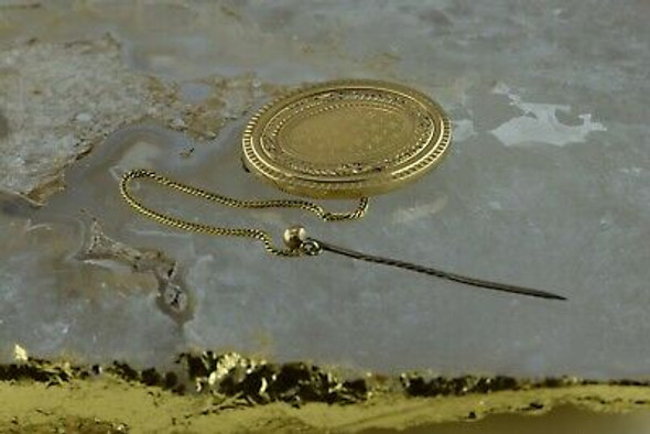 Antique 10K Gold Tested Victorian Oval Boss Pin Circa 1900