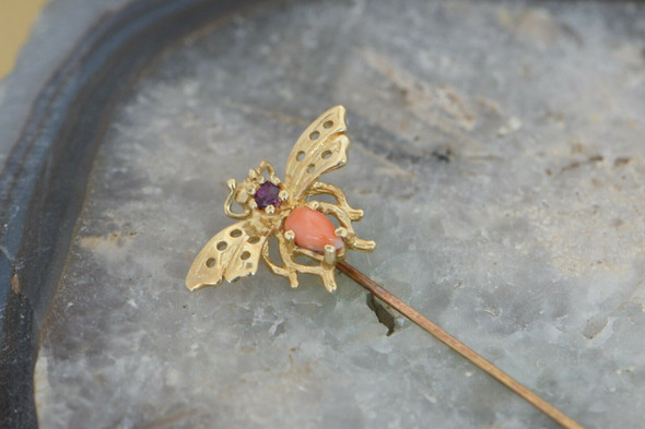 10K Yellow Gold Tested Ruby and Coral Bee Stick Pin, Circa 1960
