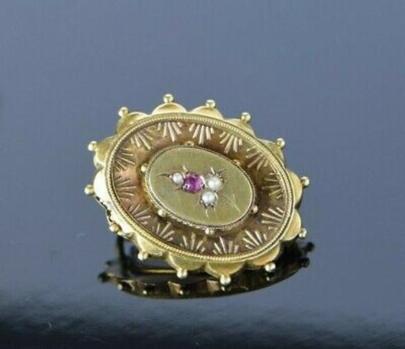 Victorian Yellow Gold Ruby Pearl Locket Pin Circa 1880