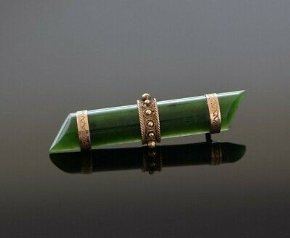 Antique 9K Rose Gold Nephrite Jade Bar Pin Etruscan Revival Circa 1880