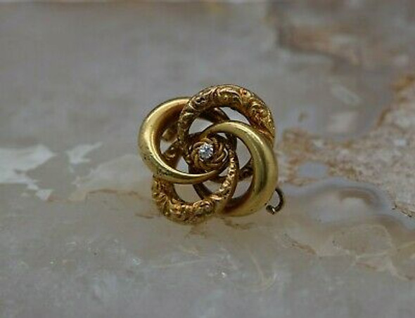Antique 14K YG Love Knot with Diamond Set Center Circles Pin Circa 1890