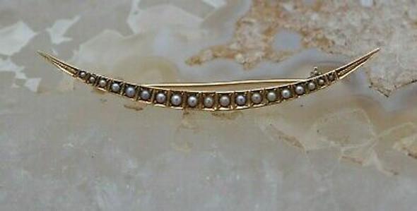 Vintage 14K Yellow Gold Pearl Crescent Moon Pin Circa 1930