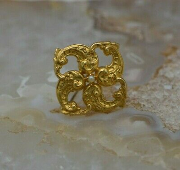 Vintage 14K Yellow Gold Victorian Style Pearl Pin Circa 1930