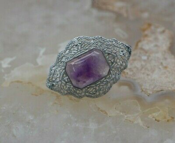 10K White Gold Amethyst Filigree Art Deco Pin