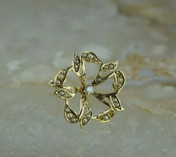 Vintage 14K Yellow Gold Diamond and Pearl Round Pin Circa 1920