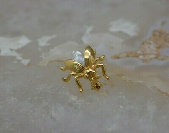 Vintage 14K Yellow Gold Beetle Pin Circa 1950