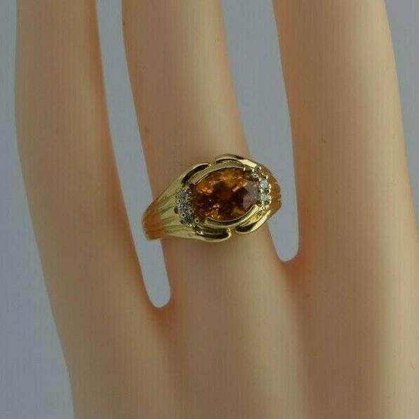 14K Yellow Gold Fine Orange Sapphire and Diamond Ring Size 6 Circa 1990