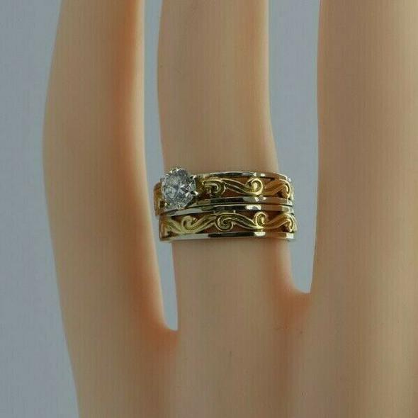 14K Yellow & White Gold Round Diamond Engagement Ring Set Size 5.25
