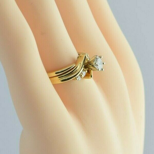 Vintage 14K Yellow Gold Diamond Ring and Guard Size 6.25 Circa 1960