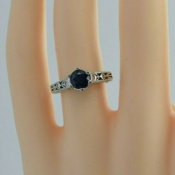 14K White Gold 1.3 ct est. Sapphire and Diamond Ring Size 6 Circa 1990