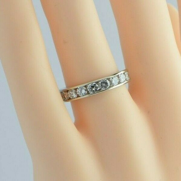 14K White Gold 1 ct tw - 10 Channel Set Diamond Band Ring Size 6.5