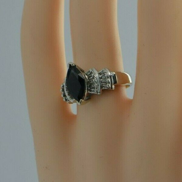 14K YG Large Sapphire Marquise and Diamond Baguette Ring Size 8 Circa 1980