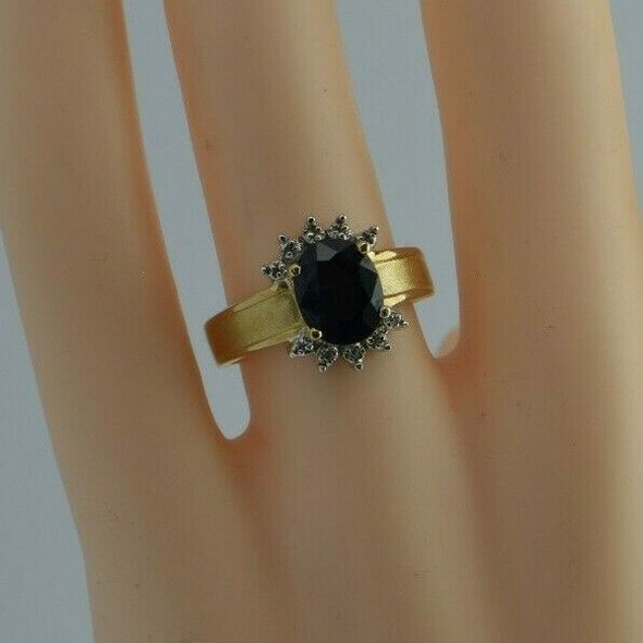 Vintage 14K YG Large Oval Sapphire w/ Diamond Accent Ring Size 7 Circa 1960