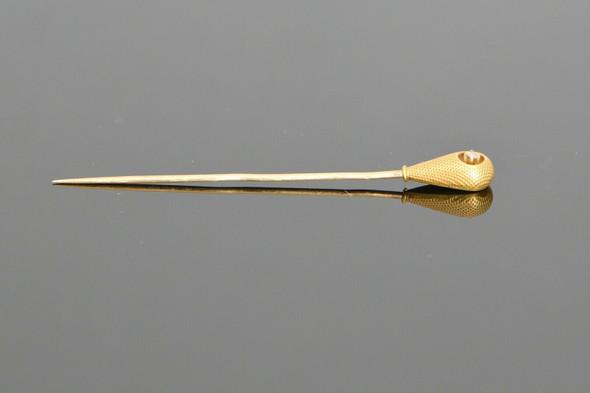 Vintage 14K Yellow Gold Diamond Set Stick Pin, Circa 1900
