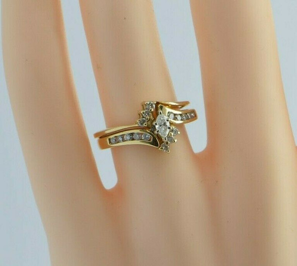 14K YG 2/3ct tw Diamond Ring Set Bypass Design Marquis Center Ring Size 6