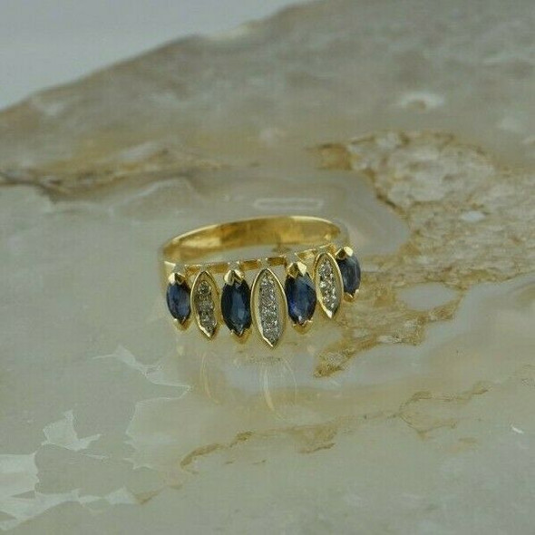 Vintage 14K YG Diamond and Sapphire Ring 1.5 ct tw est Size 7 Circa 1960