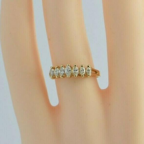 14K YG 1ct tw est. Diamond Marquise Ring Size 6.25 Circa 1970