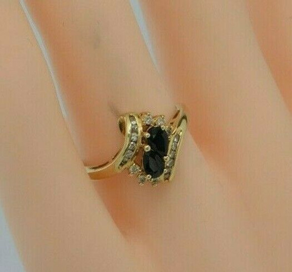 Vintage 14K Yellow Gold 1 ct tw Sapphire and Diamond Ring Size 6.25