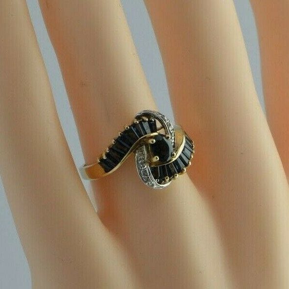 14K Yellow Gold Sapphire and Diamond Modernist Ring Size 7 Circa 1975