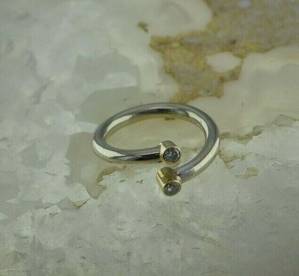14K White & Yellow Gold Diamond Ring 1/4ct tw Adjustable Size 5-7 Circa 1990