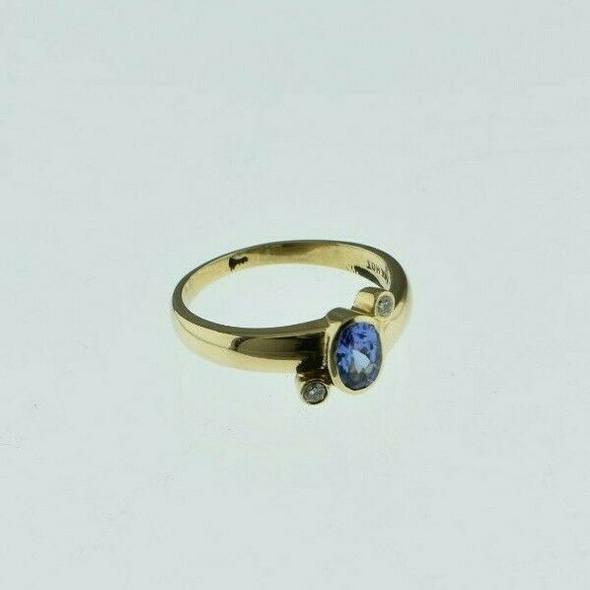 14K Yellow Gold 1ct tw Tanzanite and Diamond Ring Size 7 Circa 1980