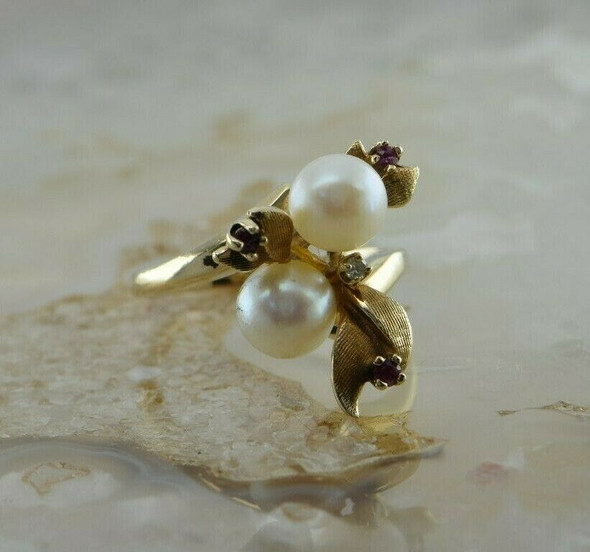 Vintage 14K Yellow Gold Pearl Ruby and Diamond Accent Ring Circa 1960 Ring size