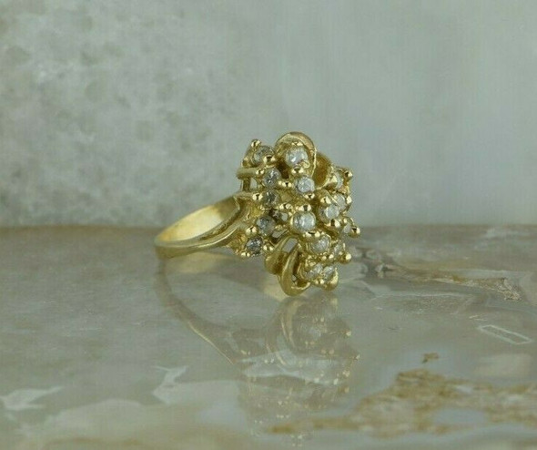 Vintage 10K Yellow Gold Diamond Cluster Ring 3/4 ct tw Size 8 Circa 1960