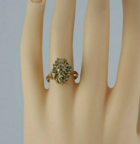 Vintage 10K Yellow Gold Diamond Cluster Ring 3/4 ct tw Size 8 Circa 1960
