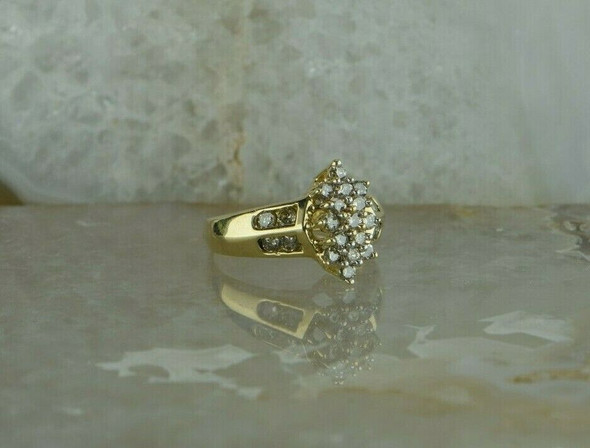 10K Yellow Gold 1ct Champagne Diamond Cluster Ring Size 7