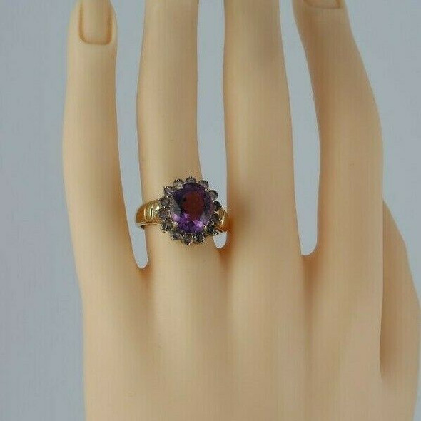 10K Yellow Gold Amethyst Tanzanite Halo Ring Size 7 Circa 1980