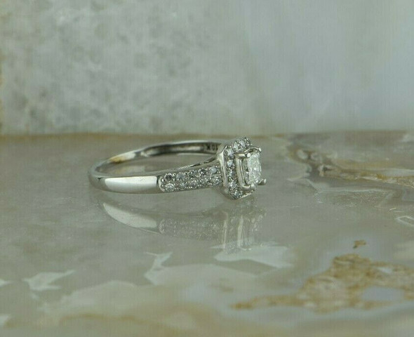 10K WG 1/2ct + Diamond Engagement Ring Radiant Cut Center Size 7 Circa 1990