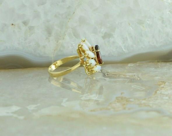 14K YG 3 ct tw Garnet & Crystal Opal Cluster Ring Size 4 Circa 1970