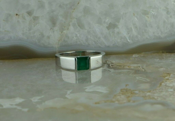 14K WG Sleek Design 1ct + Emerald Ring Square Emerald Size 6.25+ Circa 1990