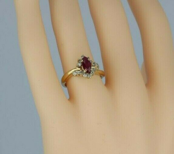 10K Yellow Gold 1ct + Ruby & Diamond Ring Size 7.25 Circa 1960