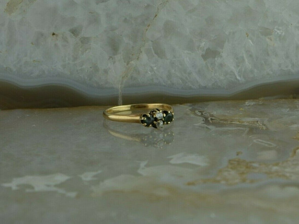 Eduardian Yellow Gold Antique Diamond and Emerald Ring Size 7.25