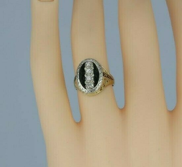Unusual Vintage 14K White Gold Diamond Signet Style Ring Size 5 Circa 1950